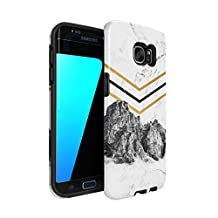 Rocky Mountains On White Cracked Marble Hard Plastic Shell & TPU Bumper Double Layer Tough Phone Case For Samsung Galaxy S7 Edge