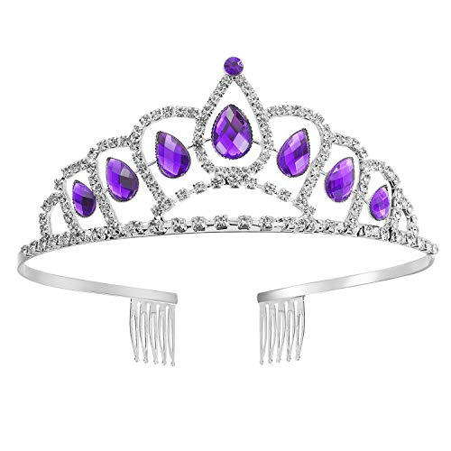 IDOXE Princess Sofia Crown Toys and Amulet Headband Necklace Crystal Tiara Costume Accessories Silver Plated Birthday Gifts for -