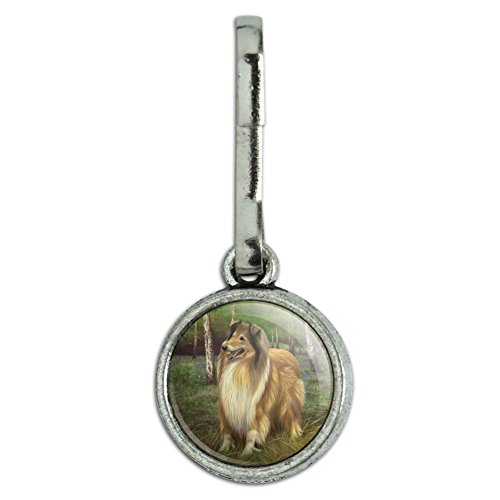 GRAPHICS & MORE Collie Dog in The Woods Antiqued Charm Clothes Purse Suitcase Backpack Zipper Pull Aid