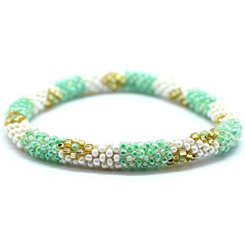 Aid Through Trade Roll-on Beaded Bracelet - Green Multi