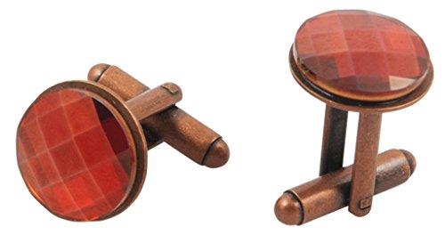 Round Crystal Cufflinks (Junee Hee Men's Swarovski Magma Crystal Round Cufflinks 14Mm Diameter Red)