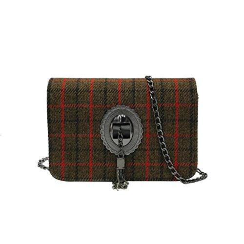 Brown Striped Handbag (Crossbody Shoulder Bag,AfterSo Plaid Striped Tassel Faux Wool Hasp Chain Evening Bags for Women (18cm/7.09