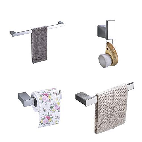 Hiendure 4-Piece Bathroom Accessory Set with 23 Towel Bar,Towel Hook,Towel Rack,Toilet Paper Holder,Chrome