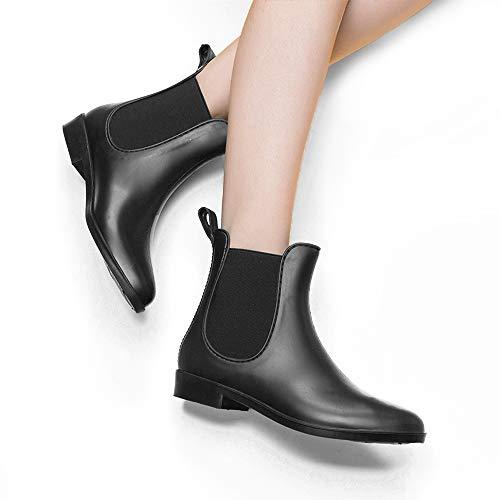 DKSUKO Women's Rain Boots Short Ankle Classical with Waterproof Black Elastic Rain Shoes for Women Slip On Booties (5 B(M) US, Matte)