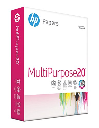 HP Printer Paper, Multipurpose20, 8.5 x 11, Letter, 20lb, 96 Bright, 500 Sheets / 1 Ream (212500R) Made In The USA...
