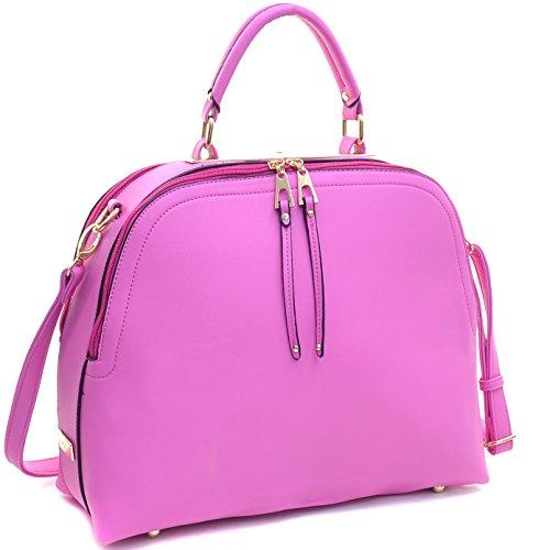 Dasein Women's Classic Buffalo PU Leather Domed Satchel Handbag Work Bag Shoulder Bag with Shoulder Strap (2-2730 Rose Buffalo)