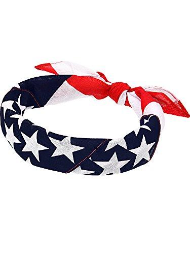 Maxdot 6 Pack American Flag Bandanas USA Flag Headband Kerchief Unisex Cowboy Bandanas Patriotic Accessories