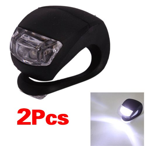 Price comparison product image SODIAL(R) Bicycle Waterproof Silicone Light Flashing Light Lamp Head Rear Light Flashlight with Double LED (2-led) (Black Silicone