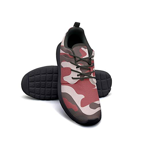 LOKIJM Camo Army Camouflage Woodland Black Gym Shoes for Women Slip Breathable Girl Running Shoes ()