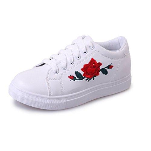 [モデルノ ラ テール] ホワイト ベース 薔薇 刺繍 スニーカー レディース ML-BSL