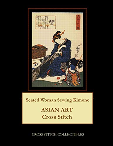Seated Woman Sewing Kimono: Asian Art Cross Stitch Pattern