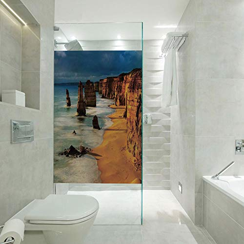 RWNFA DIY Home Decoration Glass Stickers Window Film,Twelve Apostles Australia Sunset Great Ocean Road Coast Cliff Washed by Sea Surf Picture,Customizable Size,Suitable for Bathroom,Door,Glass etc,