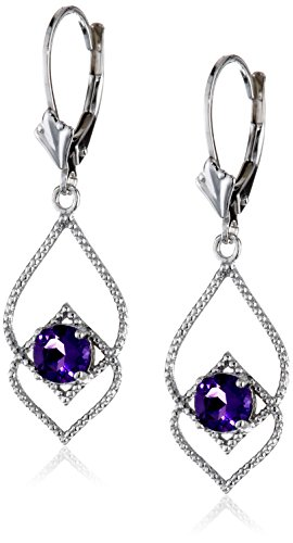 Sterling Silver Gemstone Lever-Back Dangle Earrings