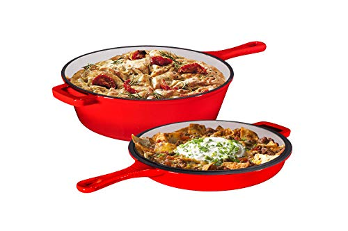 Enameled 2-In-1 Cast Iron Multi-Cooker By Bruntmor - Heavy Duty 3 Quart Skillet and Lid Set, Versatile Healthy Design, Non-Stick Kitchen Cookware, Use As Dutch Oven Frying Pan