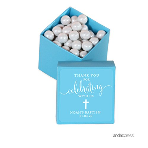 Andaz Press Personalized Mini Square Party Favor Box DIY Kit, Baptism, Thank You for Celebrating With Us, Blue, 20-Pack, For Religious, Christening Party Favors, Decorations, Custom Name