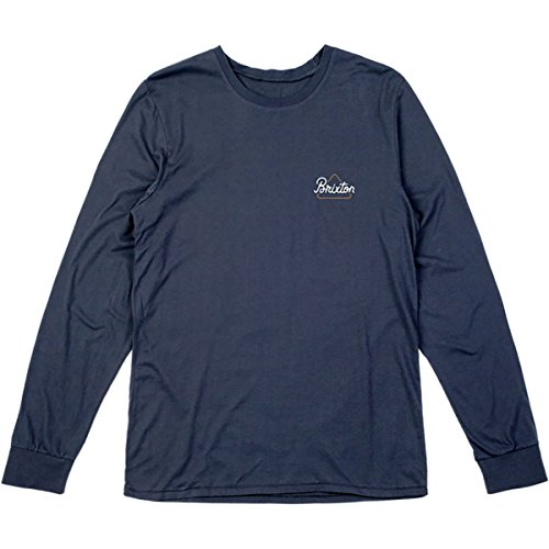 Brixton Men's Newbury Long Sleeve Premium Tee, Navy, - Newbury Shops Street