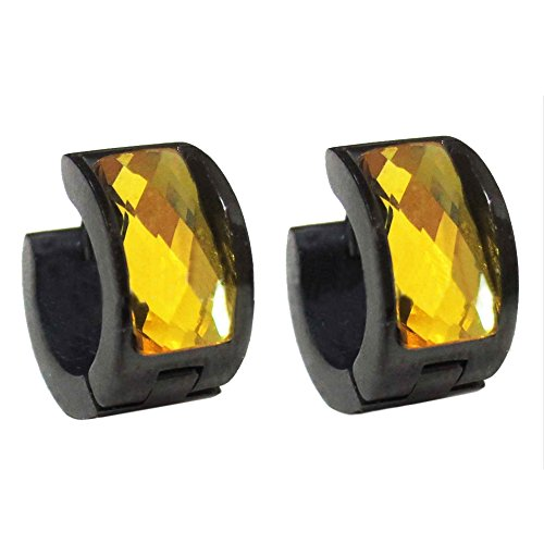 OAKKY Men's Women's Yellow Crystal Black Stainless Steel Studs Hoop Earrings, Yellow ()