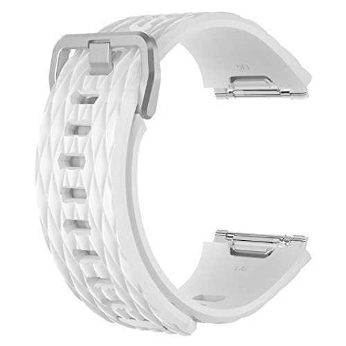 Price comparison product image Fitbit Ionic Watch Bands, Boofab Silicone Sport Replacement Accessories Wristband for Fitbit Ionic Smartwatch Large Small Women Men 10 Different Colors (White)