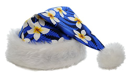 Blue Hawaiian Classic Fabric (Hawaiian Style Tropical Santa Claus Hat - Adult Size - Blue)