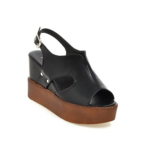 Amoonyfashion Mujer Open Toe High Heels Soft Material Solid Hebilla Plataformas Y Cuñas Negro