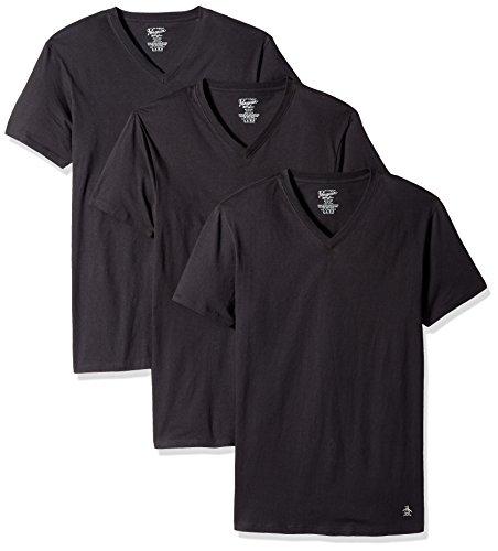 Original Penguin Men's 100% Cotton Slim Fit V Neck T-Shirt, Multipack, Black - 3 Pack, Large (Jersey Penguin V-neck)