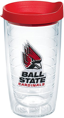(Tervis 1084588 Ball State Cardinals Logo Tumbler with Emblem and Red Lid 16oz, Clear)