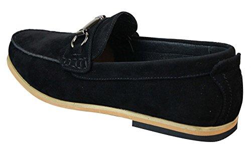 Driving Noir Mocassins On Retro Chaussures Hommes Casual Suede Slip Smart Buckle wCSWqwBAf