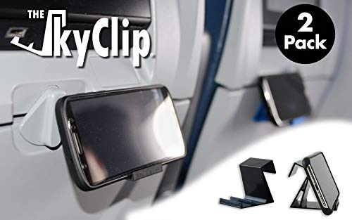 The SkyClip - (Black, 2 Pack) Airplane Cell Phone Seat Back Tray Table Clip and Phone Stand, Compatible with iPhone, Android, Tablets, and Readers ()