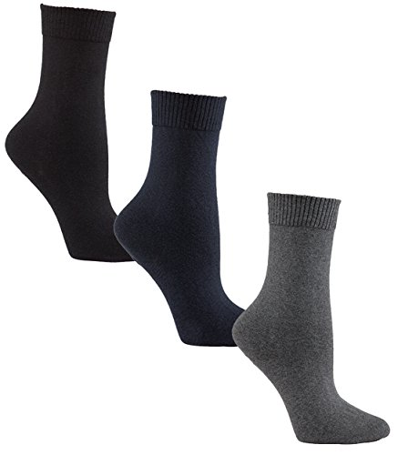 Diabetic Socks | Womens Black/Navy/Grey Crew Assorted 3 Pack | Seamless Toe | Non-Binding Top | Sock Size 9-11 | Improve Foot Health Comfort Circulation for Diabetes, Varicose Veins, (Sox Classic Cotton)