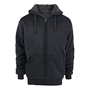 Tanbridge Heavyweight Sherpa Lined Plus Sizes Warm Fleece Full Zip Mens Hoodie Padded Sleeve & Rib Cuffs