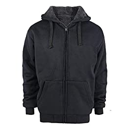 Men's Sherpa Lined Plus Sizes Warm Fleece Full Zip  Hoodie