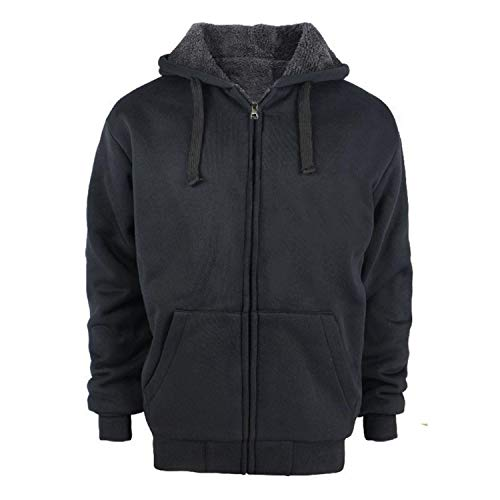 TanBridge Heavyweight Sherpa Lined Plus Sizes Warm Fleece Full Zip Mens Hoodie with Padded Sleeve & Rib Cuffs Black M