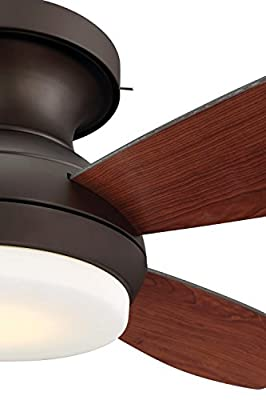 "GE Kinsey 44"" Bronze LED Indoor Ceiling Fan with SkyPlug Technology for Instant Plug and Play Mounting"