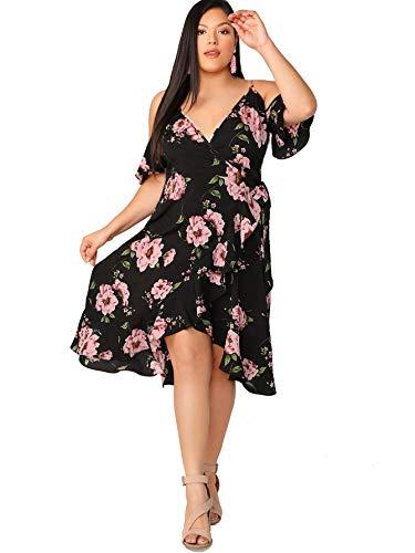 Milumia Women Plus Size Floral Bohemian Cold Shoulder Summer Dress Black 3X