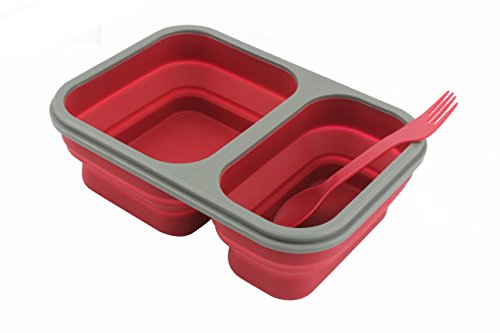 Collapsible Lunch Box - Best Bento Silicone Lunchbox With Two Compartments, BPA Free, Great for School, Red (Collapsible Box Lunch)