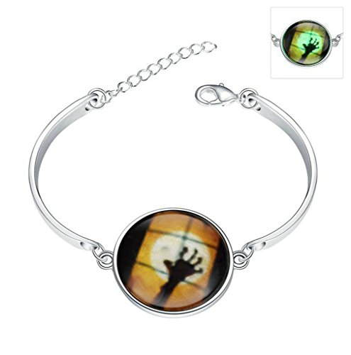 [Gnzoe Women Glow In The Dark Luminous Noctilucent Fearful Ghost Bangle Bracelet] (Old Spice Man Halloween Costume)