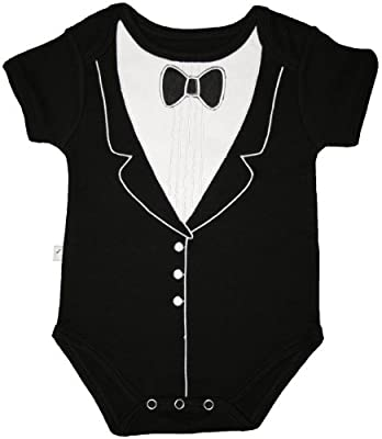 Frenchie Mini Couture Funny Baby One-Piece Bodysuit, Tuxedo