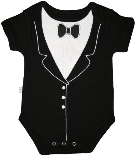 Baby Penguin Costume Uk (Tuxedo Fancy Dress Up Bodysuit - With Embroidery and 3D Bowtie, (0-3 months), Frenchie Mini Couture)