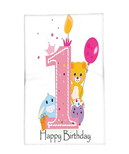 Interestlee Fleece Throw Blanket 1st Birthday Decorations Princess Girl Party Cake with Candle Teddy Bear Print Light Pink and Hot (Pink Teddy Bear Candle Holder)