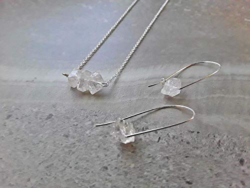 Raw Herkimer Diamond April Birthstone Alternative Three Stone Pendant Necklace and Modern Hoop Earring Gift Set .925 Sterling Silver