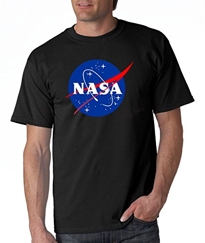 (NASA Meatball Logo White, Blue or Gray T-shirts (Large, Black))