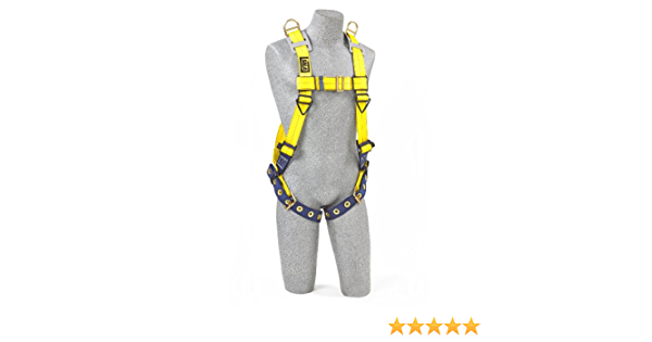 Navy//Yellow Quick Connect Buckle Leg//Chest Straps and Comfort Padding 3M DBI-SALA DeltaComfort 1100636 Fall Arrest Kit with Back//Front D-Rings Small