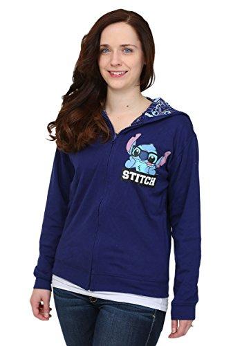 Lilo And Stitch Juniors Reversible Hooded Sweatshirt - L