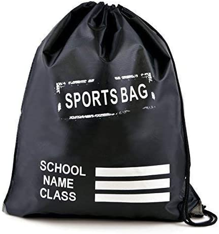 Personalised School PE Pumps Bags Drawstring Backpack Gym Swim Sport Waterproof