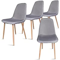 Leopard Modern Dining Chair with Metal Legs and Fabric,Dining room Chairs Set of 4,Gray
