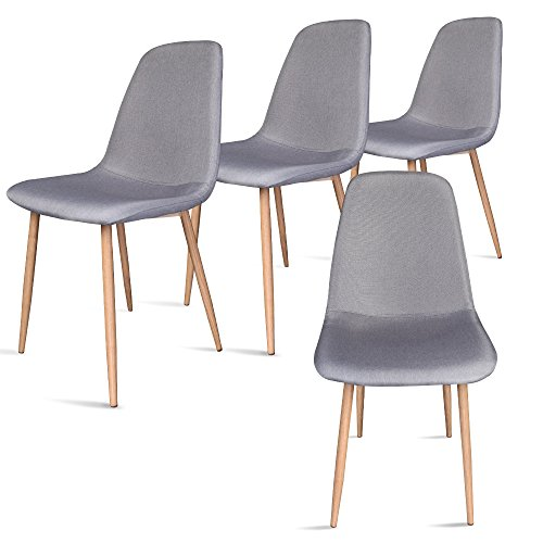 Set of 4 Modern Dining Chairs with Metal Legs and Fabric,Dining room Chair by Leopard - Gray