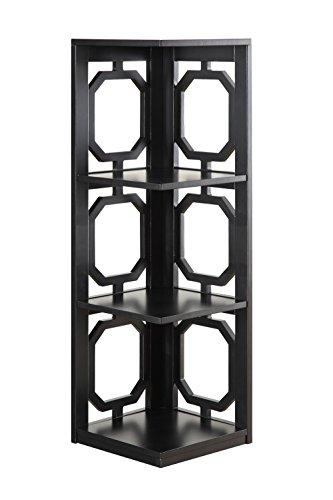 Convenience Concepts Omega 3-Tier Corner Bookcase, Black