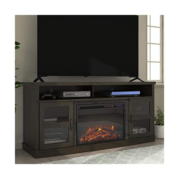 """Beaumont Lane Electric Fireplace Heater TV Stand Console up to 65"""" in Espresso"""