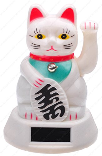 M.V. Trading Japanese Maneki Neko Fortune Cat Lucky Cat White Battery Operated Also Solar Powered with Waving Arm, 5-Inches -