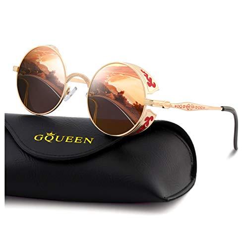 GQUEEN Retro Round Circle Steampunk Polarized Sunglasses Metal Alloy for Men Women MTS1